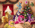 angel applejack apples christmas christmas_tree cookie fluttershy gummy kitchen laurenmagpie magic main_six opalescence oven owlowiscious pinkie_pie rainbow_dash rarity spike tank twilight_sparkle winona