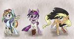 applejack cloak goggles rainbow_dash silbersternenlicht steampunk twilight_sparkle