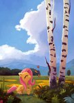 ajvl butterfly fluttershy highres trees