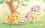 angel applejack apples fluttershy personality_swap ponytail stasysolitude stick