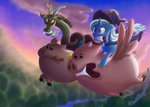 cloud deathpwny discord flying highres pig race riding the_great_and_powerful_trixie