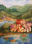apple_bloom cloudlama cutie_mark_crusaders fluttershy highres magic paper_boat rarity scenery scootaloo sweetie_belle water
