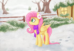 absurdres citizensmiley fluttershy highres scarf snow tree winter