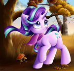 absurdres autumn faline highres scarf starlight_glimmer trees