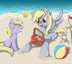 ball basket beach beach_ball derpy_hooves dinky_hooves muffin radioactive-k sand_castle
