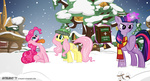 astalakio book fluttershy hat pinkie_pie scarf snow snowing twilight_sparkle winter