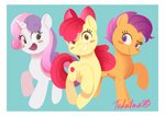 apple_bloom cutie_mark_crusaders gamorangetana highres scootaloo sweetie_belle