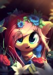 absurdres dress flowers fluttershy freeedon highres