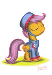coat colored_pencil costume courier hat highres patoriotto scootaloo uniform