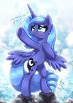 highres joakaha princess_luna singing water waterfall young