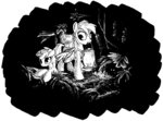 backpack derpy_hooves dinky_hooves highres lantern lineart mcstalins white_on_black