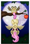 absurdres apples flutterbat fluttershy highres moon nighttime owlowiscious thebubbleqat tree
