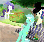 badzerg camille_monet_on_a_garden_bench claude_monet glove hat i_shall_not_use_my_hooves_as_hands livestream lyra_heartstrings parody rarity sweetie_drops tophat umbrella