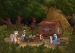 angel apple_bloom cutie_mark_crusaders eriada1992 fluttershy forest highres rabbit scenery scootaloo squirrel sweetie_belle the_great_and_powerful_trixie wagon zecora