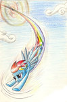 cloud flying highres rainbow_dash sirzi sonic_rainboom traditional_art