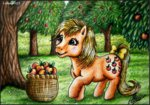 applejack_(g1) apples basket g1 lolliangel123 traditional_art trees
