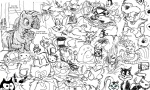 bill_the_cat blaze_the_cat candybag cat cat_in_the_hat catdog cats_(character) cheshire_cat crossover ctc doraemon everypony felix_the_cat flockdraw garfield gary grayscale heathcliff hello_kitty insanity krazy_kat lineart luna_(cat) mewtwo opalescence pokemon rarity sailor_moon samurai_pizza_cats sketch snowball_(character) sonic_the_hedgehog swatkats tagme tom too_many_goddamn_characters_to_list top_cat waldo wat