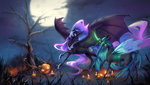 candle highres nightmare_moon nighttime pumpkin queen_chrysalis rosycanvas