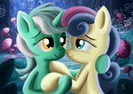 absurdres best_friends highres lyra_heartstrings lyrabon shipping sweetie_drops theponypretender