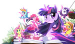 applejack book caibaoreturn flowers fluttershy main_six pinkie_pie princess_twilight rainbow_dash rarity twilight_sparkle