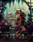absurdres bench breezie flowers garden highres holivi original_character