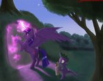 absurdres greenbrothersart highres magic princess_twilight spike trees twilight_sparkle