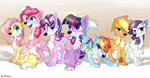 applejack fluttershy highres kaliner123 main_six pinkie_pie rainbow_dash rarity species_swap starlight_glimmer twilight_sparkle wolf