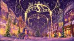 canterlot hearth's_warming_eve highres plainoasis princess_luna princess_twilight scarf scenery snow snowing tree twilight_sparkle winter