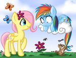 bees butterfly chipmunk cloud filly flowers fluttershy megasweet rainbow_dash