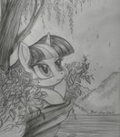 highres leaves rainwaterfallszone river traditional_art tree twilight_sparkle