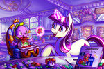 absurdres baby flowers highres jowybean magic parents spike twilight_velvet