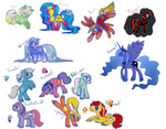 autumn crossover fireball_(g1) g1 generation_leap hedjayath ice_crystal lightning_(g1) mountain_boys original_character ponified princess_luna season_ponies spring summer sunburst_(g1) thundercloud_(g1) tornado_(g1) tron weather_ponies winter