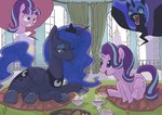 canterlot cup highres nightmare_moon pillow princess_luna starlight_glimmer tea teacup teapot yanamosuda