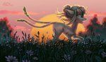 absurdres butterfly flowers highres holivi original_character sunset