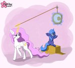 cardboard_box clouddg filly highres magic moon princess_celestia princess_luna raising_the_moon young