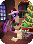 christmas christmas_tree hat quill rizcifra santa_hat spike twilight_sparkle