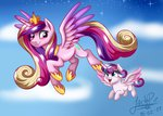 flying highres jack-pie princess_cadance princess_flurry_heart stars