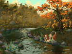 autumn autumn_blaze highres kirin river scenery tinybenz trees water