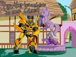 bad_dudes bumblebee crossover ponyville spike statue tofutiles transformers