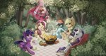 absurdres applejack apples basket cake fluttershy glasses highres magic main_six meruprince picnic pinkie_pie princess_twilight rainbow_dash rarity scarf sunglasses tea teacup trees twilight_sparkle