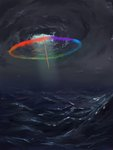 cloud flying highres rainbow_dash sea sonic_rainboom tinybenz water waves