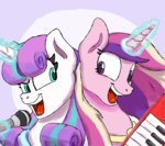 highres jimmyjamno1 magic microphone princess_cadance princess_flurry_heart singing