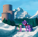 bag clothes maggwai mountain scenery snow spike trees twilight_sparkle