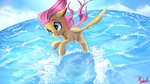 fluttershy flying highres miokomata sea water