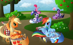 applejack apples book highres kart loading_screen pinkie_pie ponykart rainbow_dash rarity reading reuniclus sweet_apple_acres twilight_sparkle wallpaper