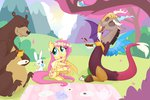 absurdres angel bear cup discord flower_crown fluttershy harry highres hollulu picnic tea_party