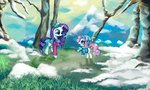 absurdres clothes colochenni hat highres rarity scarf snow sweetie_belle trees