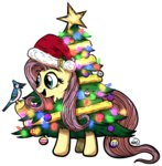 absurdres bird christmas_tree costume fluttershy fluttertree gray--day highres