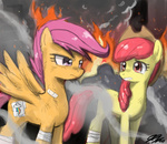 apple_bloom grown_up johnjoseco on_fire scootaloo