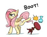 absurdres docwario fluttershy highres kick table vase